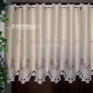 Kitchen Fabric For Curtains New Window Curtains Free Shipping Semi Shade Embroidery Rustic Curtain Fabric Finished Product