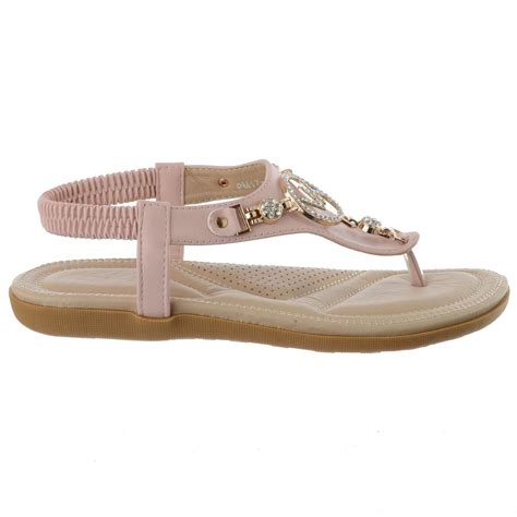 comfortable dressy sandals ladies womens flat comfort diamante summer beach dress