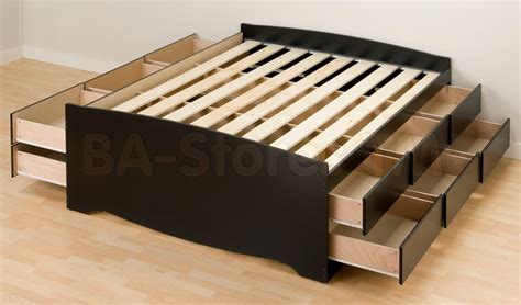 prepac tall queen platform storage bed in black with 12