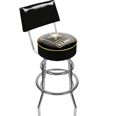 Trademark U S Army 30 In Chrome Padded Trademark U S Army 30 In Chrome Padded Swivel Bar Stool
