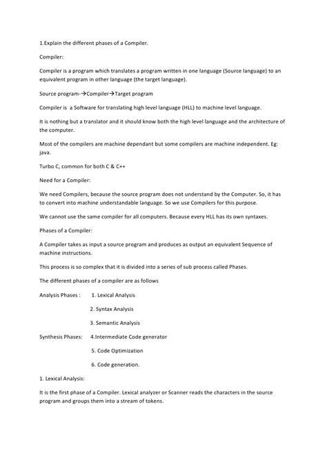 compiler design tutorial notes compiler design material