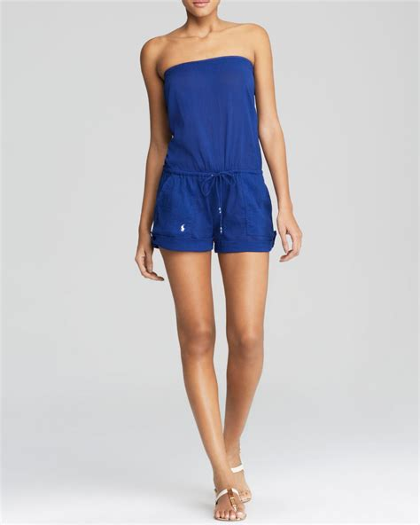 Polo Romper ralph polo strapless romper swim cover up in blue navy lyst