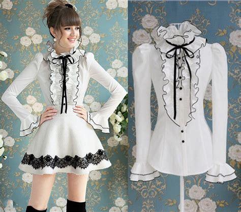 Fashion Blouse Shinta Broken White Best Seller brand noble luxury black ribbon bow ruffles blouse shirt 10152 ebay