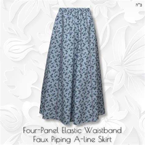 Floral Panel A Line Skirt skirt four panel blue floral modest anytime