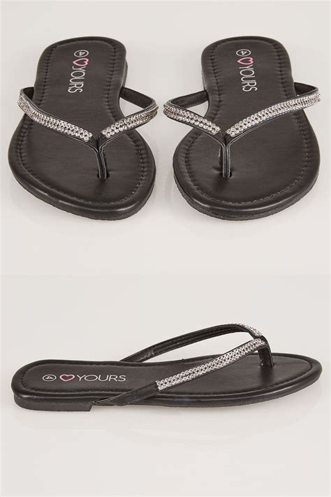 country comfort chords zwarte flip flop met diamante trim in true eee fit