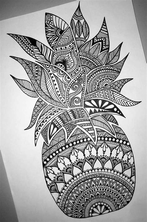 detailed tattoo designs pineapple mandala zentangle tatoos pinte