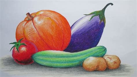 4 vegetables in how to draw vegetables with pastel