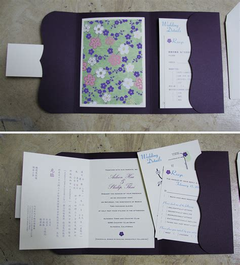 How To Make A Folder With Handmade Paper - custom wedding invitation bilingual booklet pocket