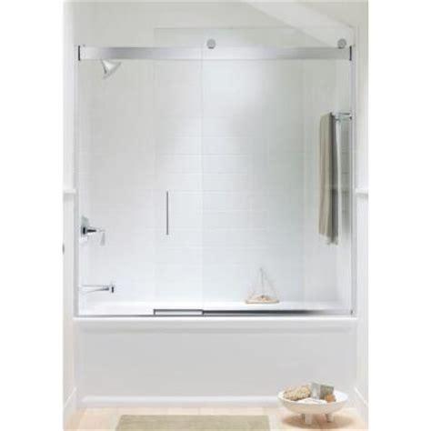 Kohler Bypass Shower Door Kohler Levity 59 5 8 In W X 59 3 4 In H Frameless Sliding Tub Shower Door With Handle In
