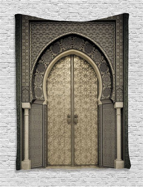 Door Tapestry by Antique Moroccan Decor Gate Door Image Royal Pattern Style