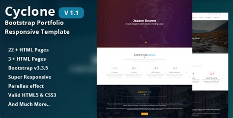 bootstrap themes effects cyclone bootstrap portfolio responsive template by cn