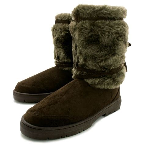 buy flat fur winter boots brown suede style