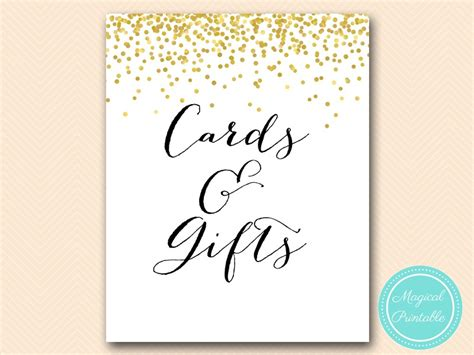 Cards And Gifts Printable Sign - gold confetti sign decor printable magical printable