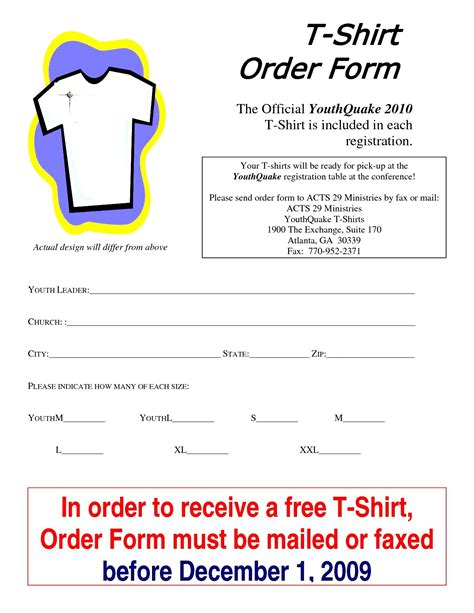 t shirt order form template word besttemplates123