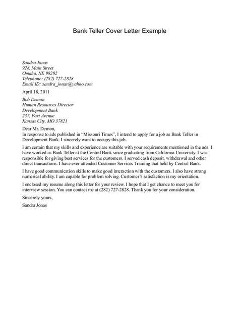 Cover Letter Exle For Bank Teller the best cover letter for bank teller writing resume