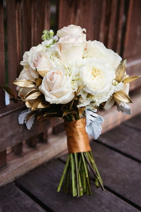 Flower Ideas Gold Wedding by White And Gold Leaf Bridal Bouquet Sharaya Mauck