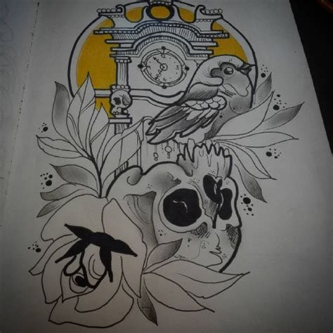 new school bird tattoo designs uncolored new school bird with skull and flowers on tower