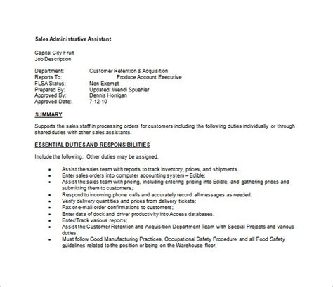 executive administrative assistant description template administrative assistant description template 8
