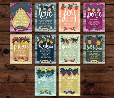 7 fruits of god the fruit of the spirit 5x7 wall cards the characters