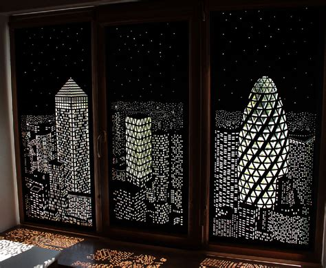 Cityscape Curtains Buildings And Stars Cut Into Blackout Curtains Turn Your