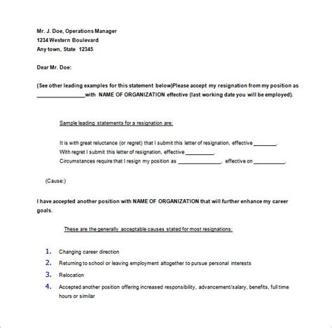 Exle Of A 30 Day Notice by 11 Notice Of Resignation Letter Templates Free Sle Exle 30 Days Notice Letter Zenmedia