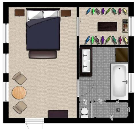 Master Bedroom And Bathroom Floor Plans | master suite floor plans in easy flow design large for
