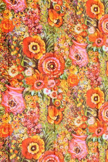 70s Floral by 70s Vintage Flowered Print Fabric Retro Floral Marked