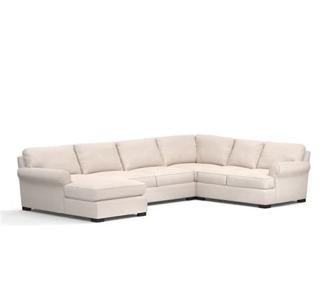 chaise pottery barn townsend roll arm upholstered 4 piece sectional with