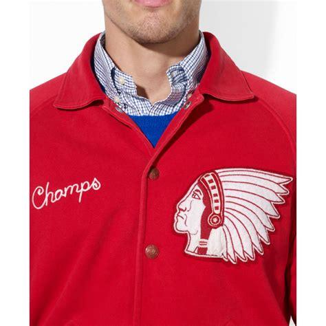 Jaket Basball Merah Putih Polos 1 lyst polo ralph polo fleece baseball jacket in for