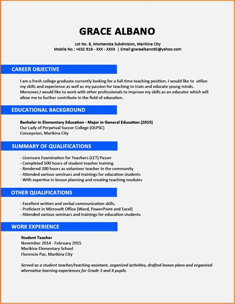 Cv In sle cv for fresh graduate in nigeria resume template