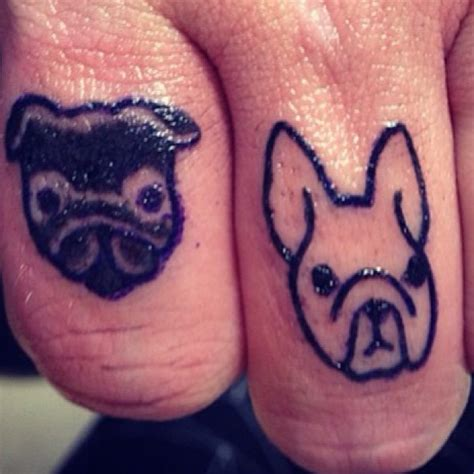tattoo of someone s lips pug and french bulldog finger tattoos on someone s boss by