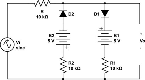 what is a diode clipper diodes solving clipper circuit containing battery and resistance in series electrical