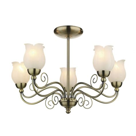 cottage style 5 light ceiling light antique brass marble