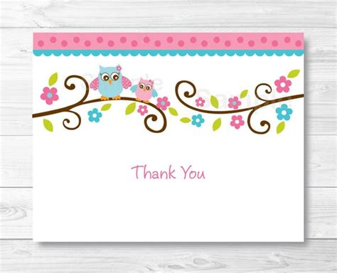 thank you card picture template pink owl thank you card folded card template owl baby