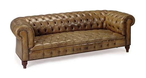 a button tufted leather upholstered chesterfield sofa