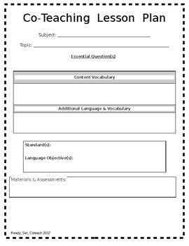 Editable Coteaching Lesson Plan Template By Readysetcoteach Tpt Co Teaching Planning Template