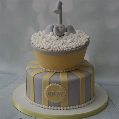Yellow And Grey Baby Shower Cake by Yellow Grey Elephant Baby Shower Cake