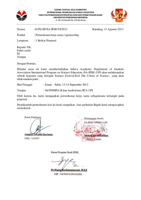 Surat Pengantar Sponsorship by Surat Permohonan Kerja Sama