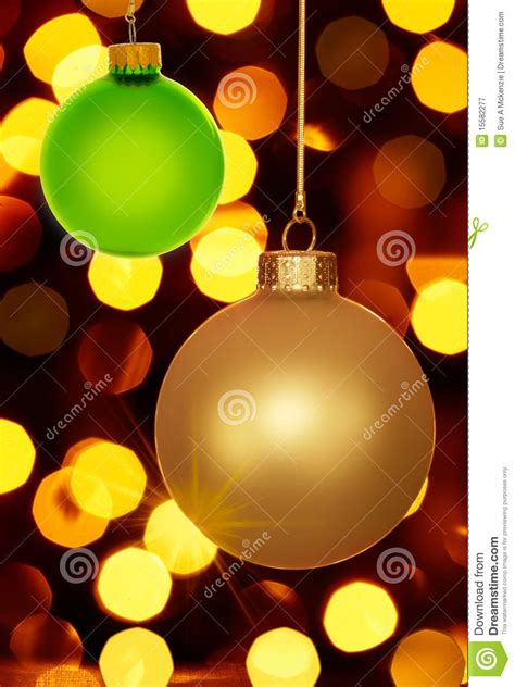 gold and green christmas ornaments holiday lights royalty