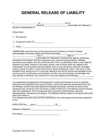 release of liability forms hold harmless agreements