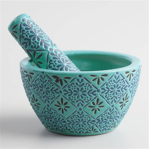 Blue Ceramic Blue Tile Ceramic Mortar And Pestle Everything Turquoise