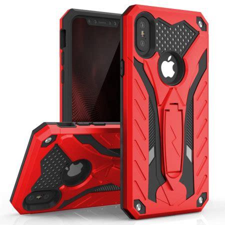 zizo static iphone xs max tough case kickstand red black