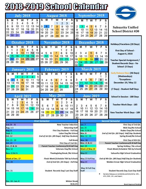 Middle School Calendar by Sahuarita Unified School District Proposed 2018 2019