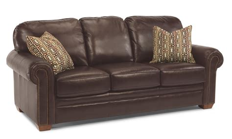 flexsteel living room leather sofa with nailhead trim 3270
