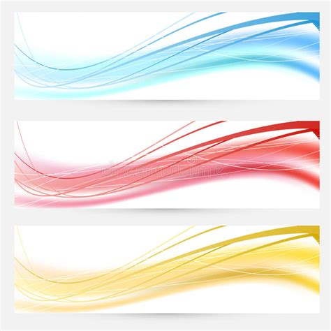header and footer design vector free set of bright abstract wave lines cards stock vector