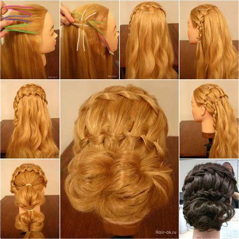 diy double waterfall braided bun hairstyle