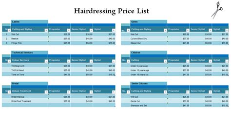 hairdressing price list template hairdressing price list template blue layouts