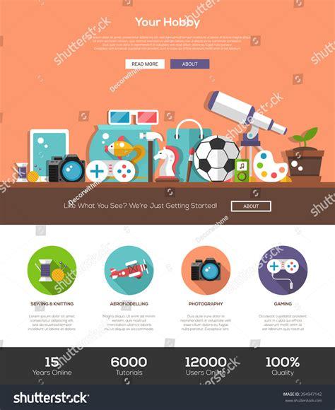 flat design header size hobbies website template with modern flat design banner
