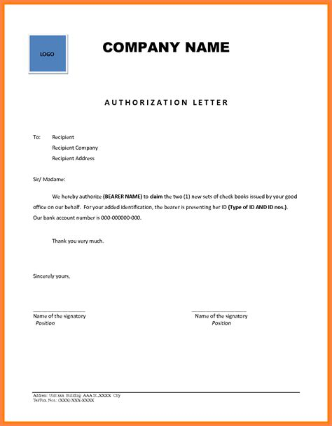 authorization letter to collect bank passbook 9 company authorization letter sle company letterhead