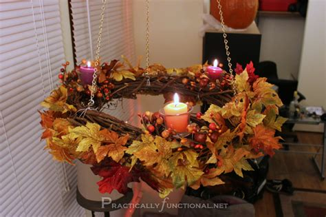 home made fall decorations simple hanging fall wreath chandelier tutorial